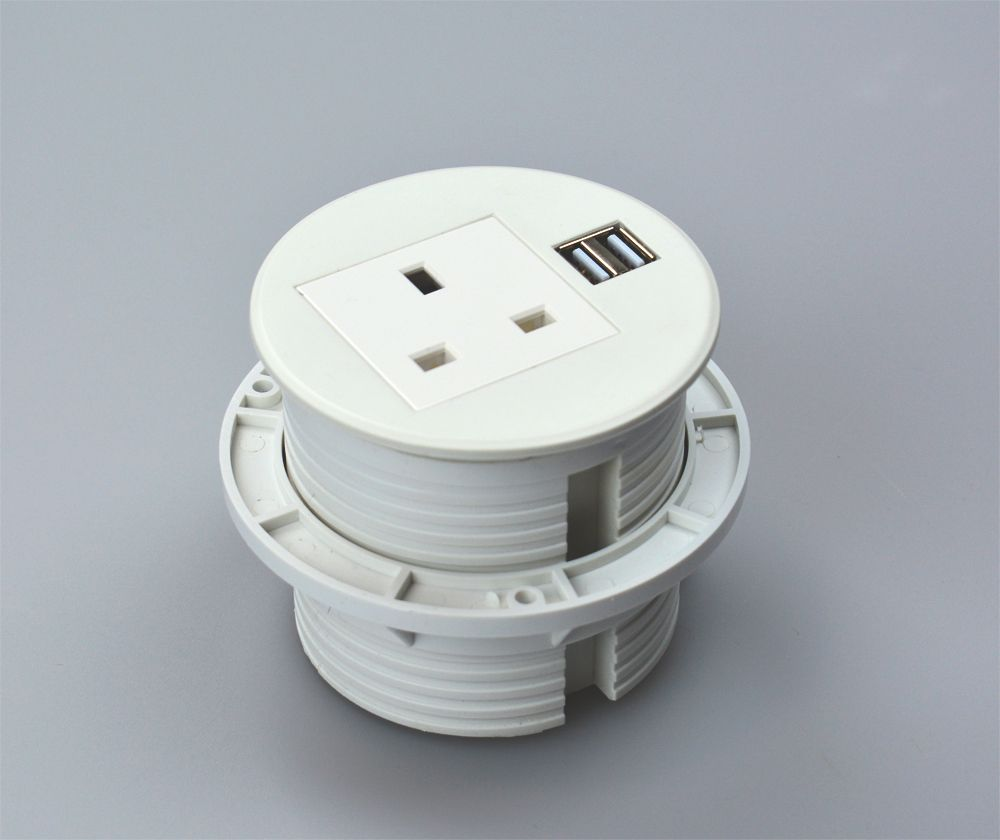 Gs80p In Desk Power Grommet With Dual Usb Charger White
